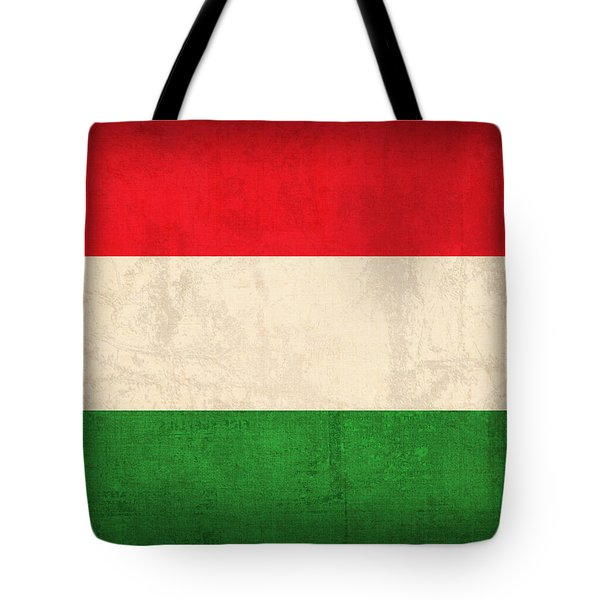 Hungary Flag Vintage Distressed Finish Tote Bag by Design Turnpike