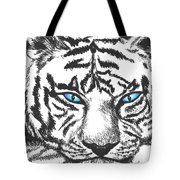 Tote Bag featuring the drawing Hungry Eyes by Sophia Schmierer