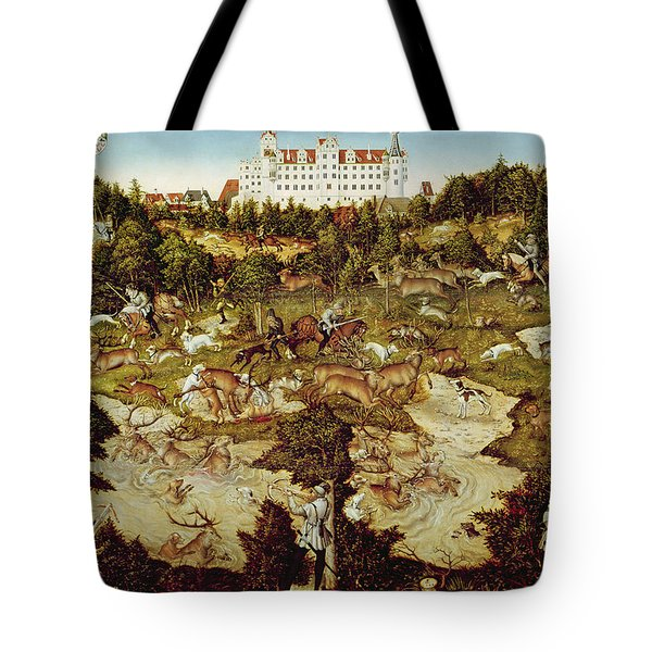 Hunt In Honour Of The Emperor Charles V Near Hartenfels Castle, Torgau, 1544 Oil On Panel See Tote Bag
