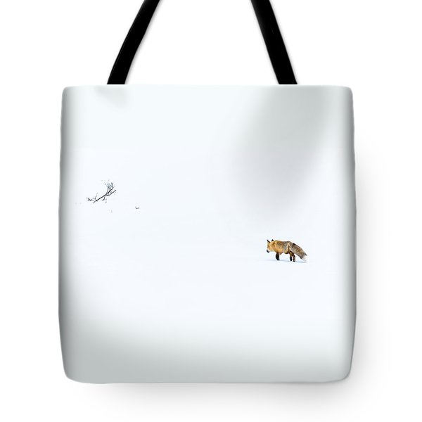Tote Bag featuring the photograph Hunting In White by Yeates Photography