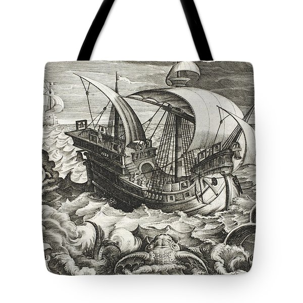Hunting Sea Creatures Tote Bag by Jan Van Der Straet