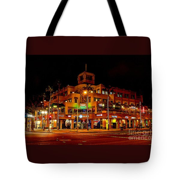 Huntington Beach Downtown Nightside 1 Tote Bag by Jim Carrell