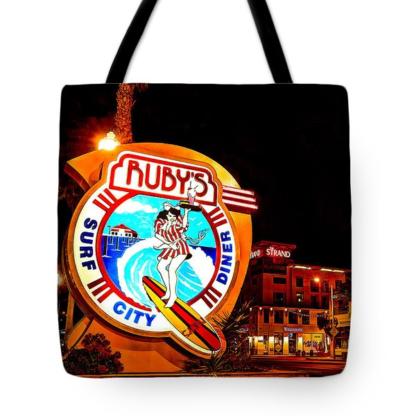 Huntington Beach Downtown Nightside 2 Tote Bag