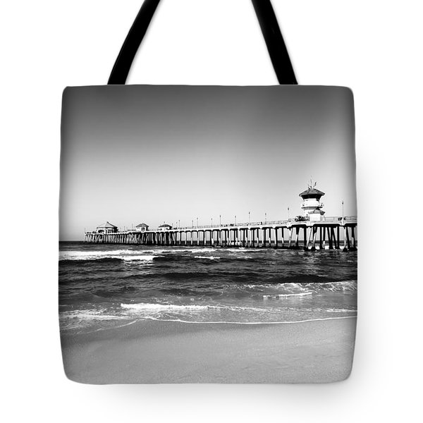 Huntington Beach Pier Black And White Picture Tote Bag by Paul Velgos