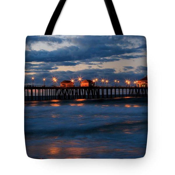 Huntington Beach Pier Lights  Tote Bag