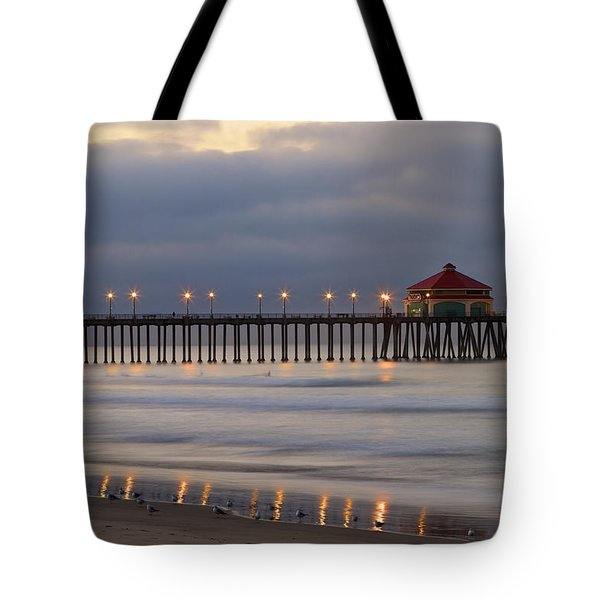 Huntington Beach Pier Morning Lights Tote Bag