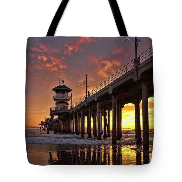 Huntington Beach Pier Tote Bag by Peggy Hughes