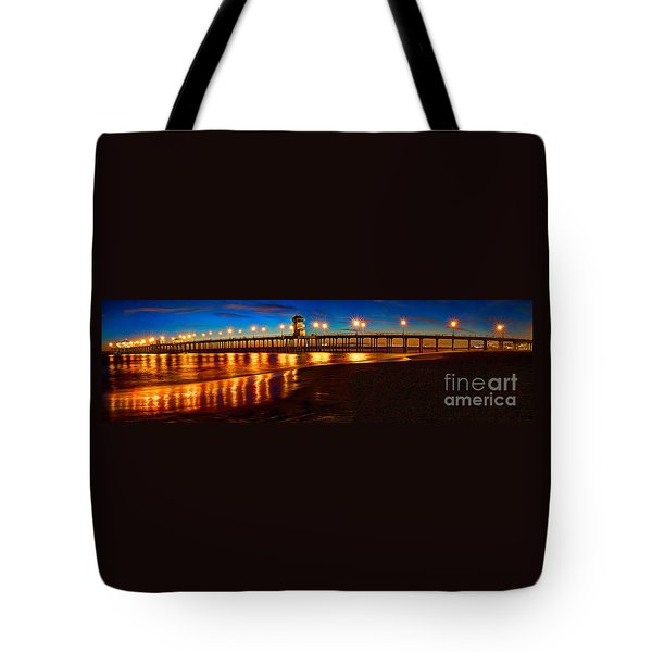 Huntington Beach Pier Twilight Panoramic Tote Bag