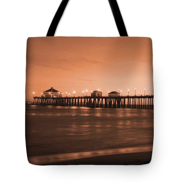 Huntington Beach Pier - Twilight Sepia Tote Bag