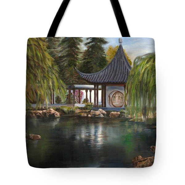 Tote Bag featuring the painting Huntington Chinese Gardens by LaVonne Hand