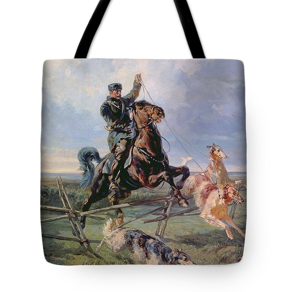 Huntsman With The Borzois Tote Bag by Rudolph Frenz