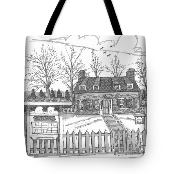 Tote Bag featuring the drawing Hurley Historical Society by Richard Wambach