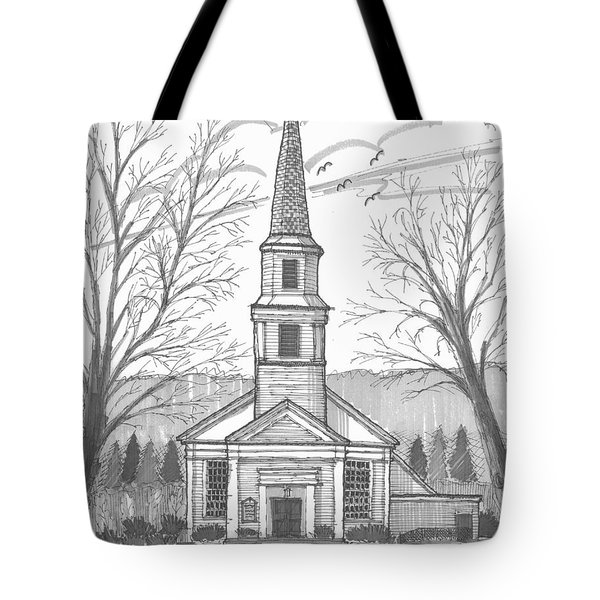 Tote Bag featuring the drawing Hurley Reformed Church by Richard Wambach