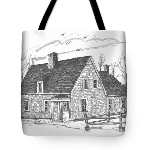Tote Bag featuring the drawing Hurley Stone House by Richard Wambach