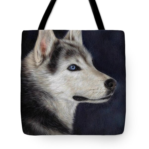 Husky Portrait Painting Tote Bag