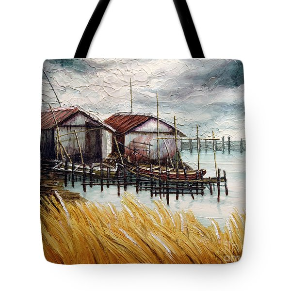 Huts By The Shore Tote Bag by Joey Agbayani