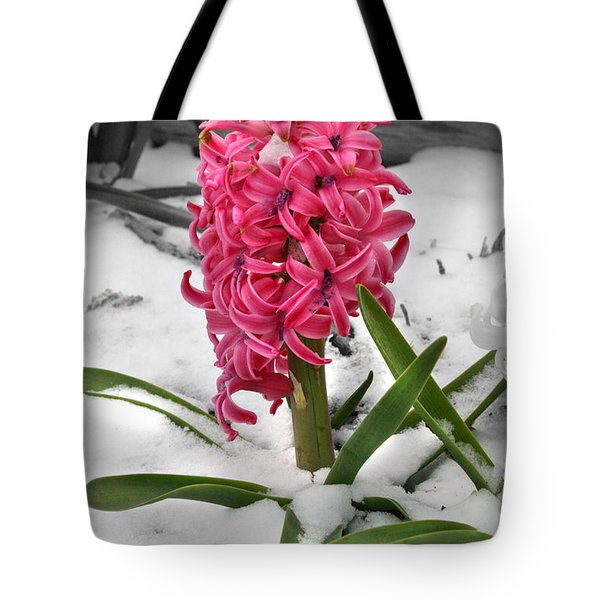Tote Bag featuring the photograph Hyacinth In The Snow by E B Schmidt