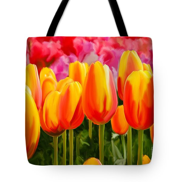Tote Bag featuring the painting Hybrid Tulips by Tim Gilliland
