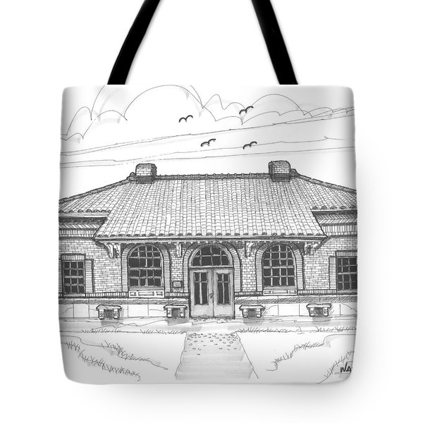 Tote Bag featuring the drawing Hyde Park Historic Train Station by Richard Wambach