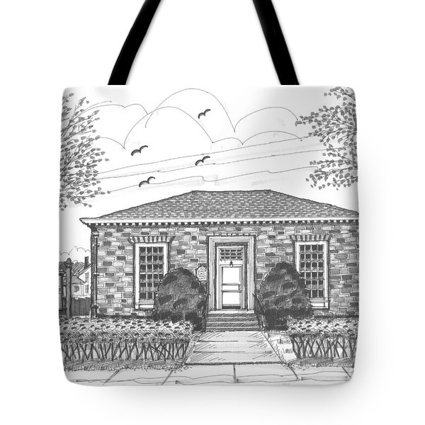 Tote Bag featuring the drawing Hyde Park Public Library by Richard Wambach