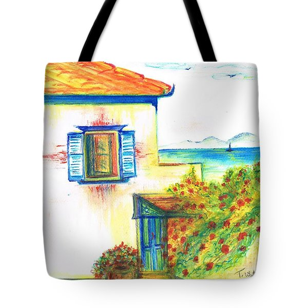 Tote Bag featuring the painting Greek Island Hydra- Home by Teresa White