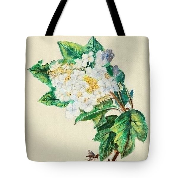 Hydrangea With Yellow Breasted  Vireo After Audubon Tote Bag by Veronica Rickard