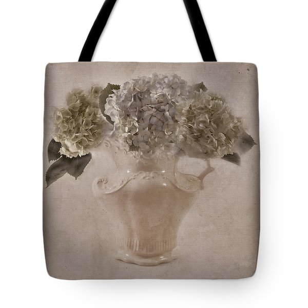 Tote Bag featuring the photograph Hydrangeas In Cream Pitcher by Sandra Foster