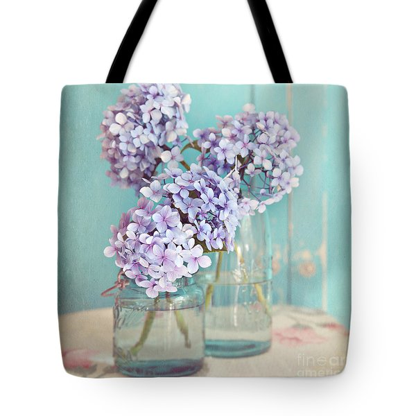 Hydrangeas In Mason Jars Tote Bag