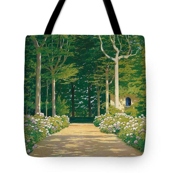 Hydrangeas On A Garden Path Tote Bag