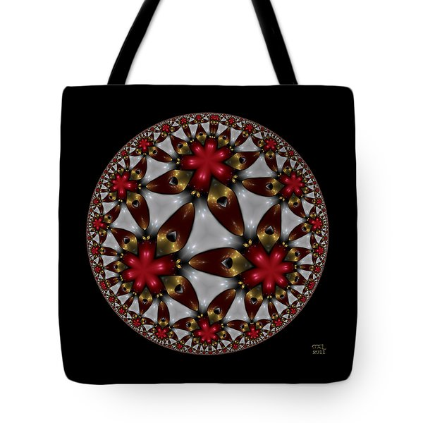 Tote Bag featuring the digital art Hyper Jewel I - Hyperbolic Disk by Manny Lorenzo
