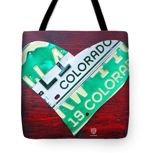 I Heart Colorado License Plate Art Tote Bag