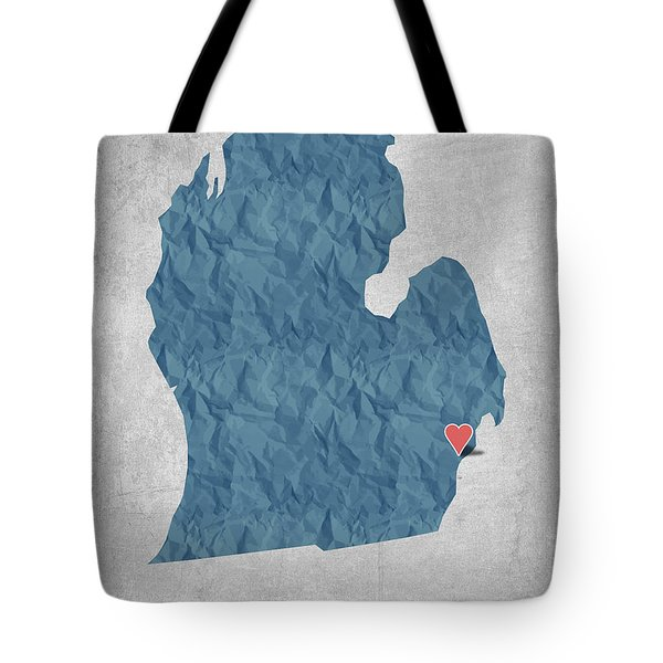 I Love Detroit Michigan - Blue Tote Bag by Aged Pixel