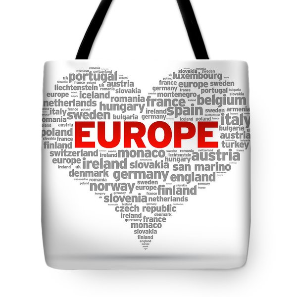 I Love Europe Tote Bag by Aged Pixel