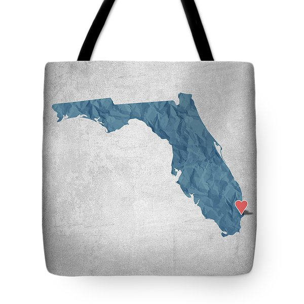 I Love Miami Florida - Blue Tote Bag by Aged Pixel