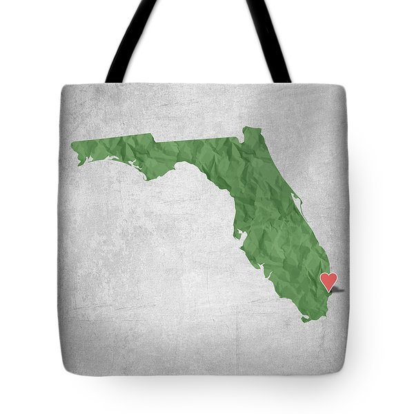 I Love Miami Florida - Green Tote Bag by Aged Pixel