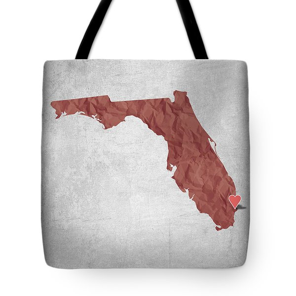I Love Miami Florida - Red Tote Bag by Aged Pixel