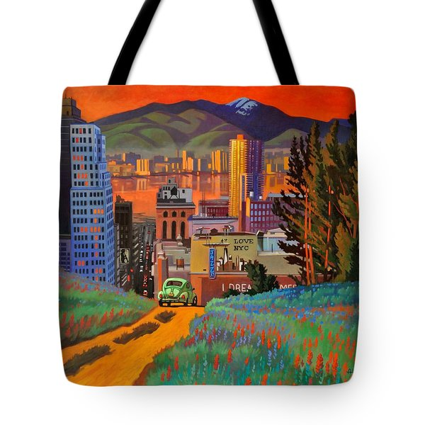 Tote Bag featuring the painting I Love New York City Jazz by Art James West