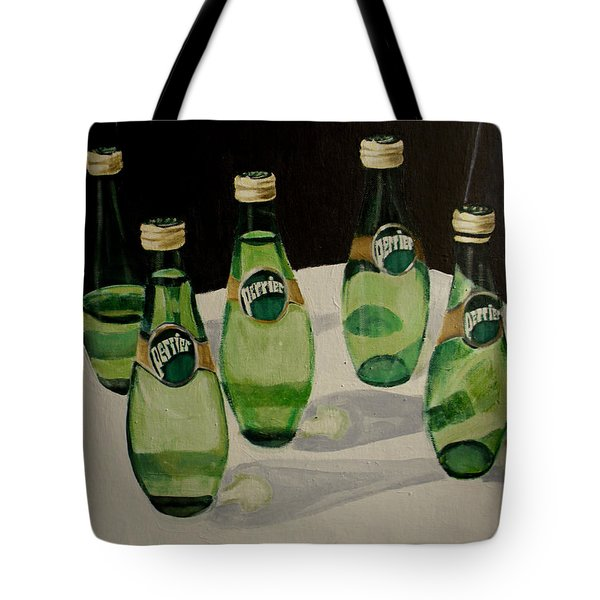 Perrier Bottled Water, Green Bottles, Conceptual Still Life Art Painting Print By Ai P. Nilson Tote Bag