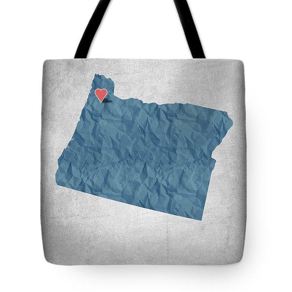 I Love Portland Oregon- Blue Tote Bag by Aged Pixel