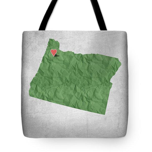 I Love Salem Oregon- Green Tote Bag by Aged Pixel