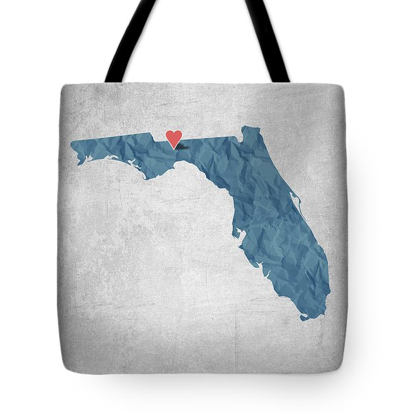 I Love Tallahassee Florida - Blue Tote Bag by Aged Pixel