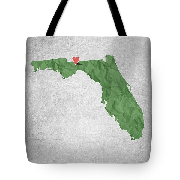I Love Tallahassee Florida - Green Tote Bag by Aged Pixel