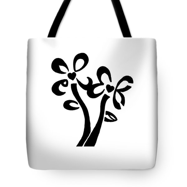 Tote Bag featuring the drawing I Love You Flowers by Tamir Barkan