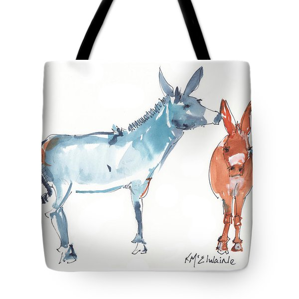 I Love You Donkey Art Watercolor Painting By Kmcelwaine Tote Bag