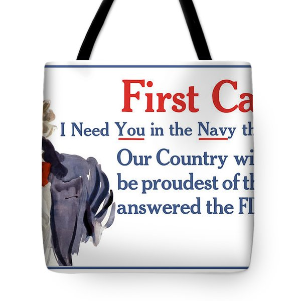I Need You In The Navy - Uncle Sam Wwi Tote Bag