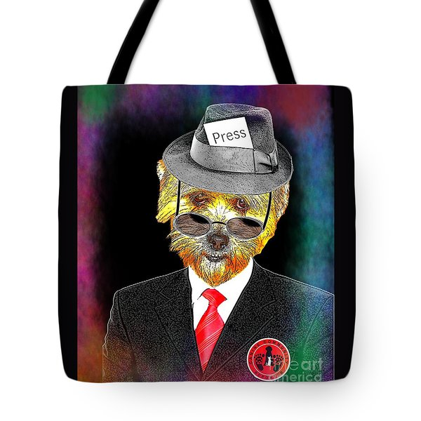 Tote Bag featuring the digital art I Report The News by Kathy Tarochione