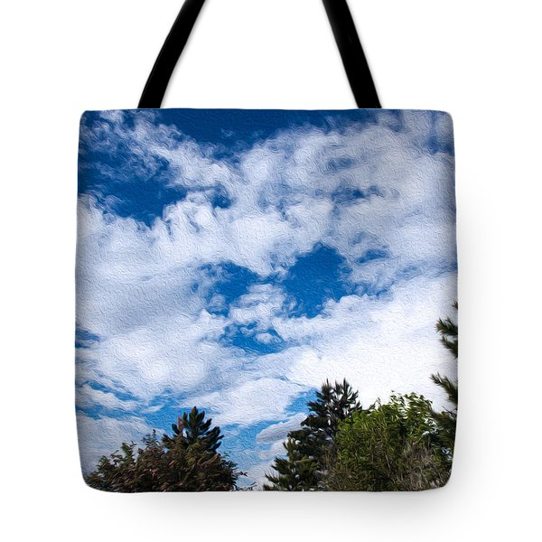 I See A White Cloud Looking At Me Tote Bag by Omaste Witkowski