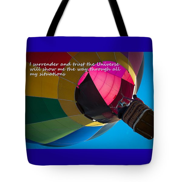 Tote Bag featuring the photograph I Surrender And Trust by Patrice Zinck