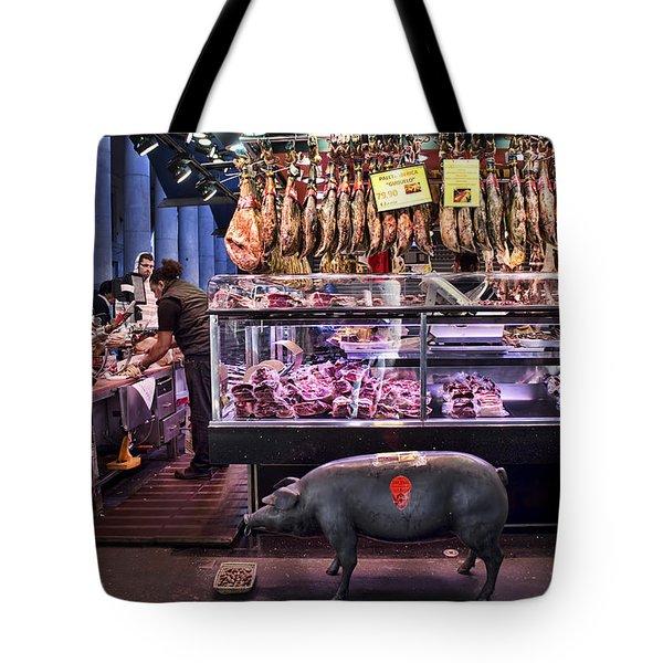 Iberico Ham Shop In La Boqueria Market In Barcelona Tote Bag