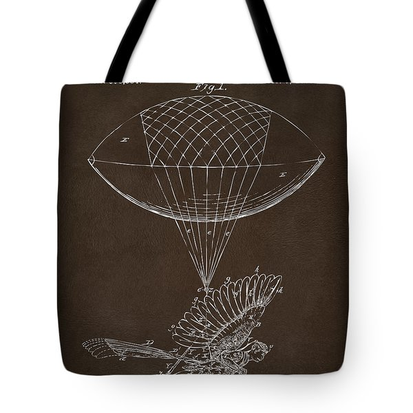 Tote Bag featuring the drawing Icarus Airborn Patent Artwork Espresso by Nikki Marie Smith